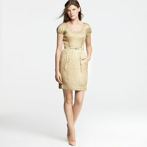 Jcrew gold metallic foil jacquard dress